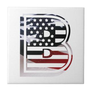 USA Flag American Initial Monogram B Small Square Tile