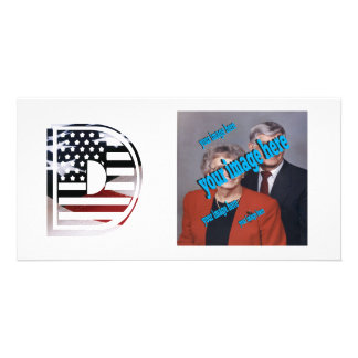 USA Flag American Initial Monogram D Photo Card