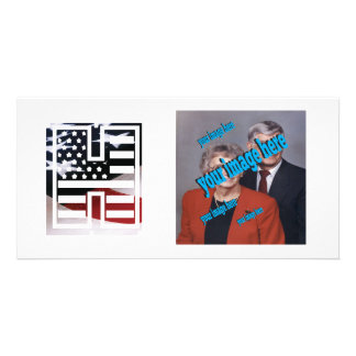 USA Flag American Initial Monogram H Photo Greeting Card