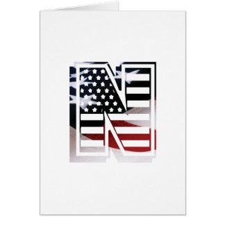 USA Flag American Initial Monogram N Greeting Card
