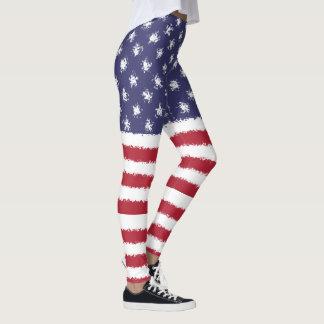 USA Flag American Patriotic Leggings