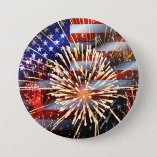 USA Flag and Fireworks 7.5 Cm Round Badge