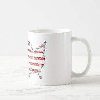 USA Flag and Map Word Cloud Coffee Mug