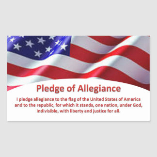 USA Flag and Pledge of Allegiance Stickers
