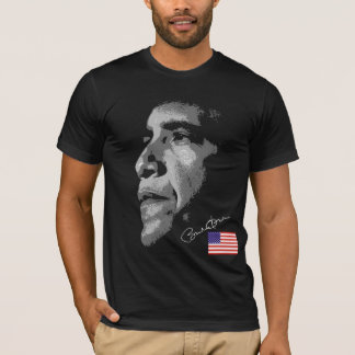 USA Flag Barack Obama with Signature T-Shirt