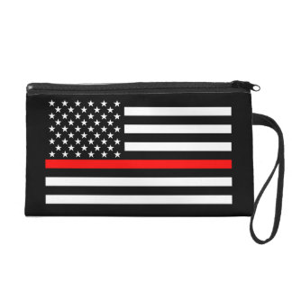 USA Flag Black and White Thin Red Line Decor on a Wristlet