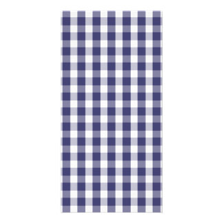 USA Flag Blue and White Gingham Checked Customised Photo Card