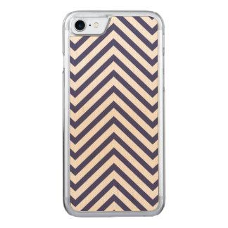 USA Flag Blue & White Wavy ZigZag Chevron Stripes Carved iPhone 7 Case