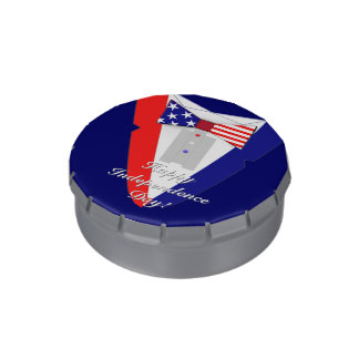 USA Flag Bow Tie Tuxedo 4th of July Party Candy Tins