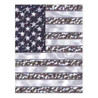 USA Flag Chrome Postcard