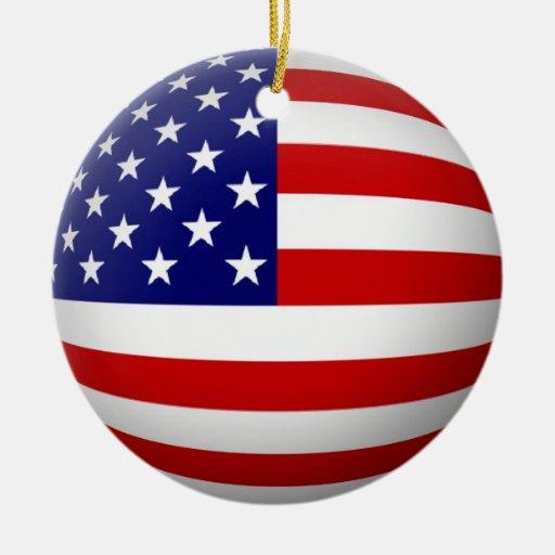 USA Flag Circle Ornament