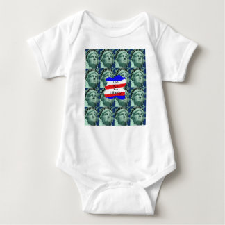 USA Flag Colors With Statue Of Liberty Baby Bodysuit