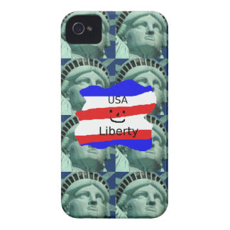USA Flag Colors With Statue Of Liberty Case-Mate iPhone 4 Case