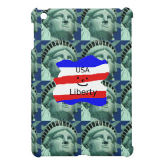 USA Flag Colors With Statue Of Liberty iPad Mini Cases