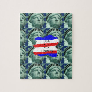 USA Flag Colors With Statue Of Liberty Jigsaw Puzzle