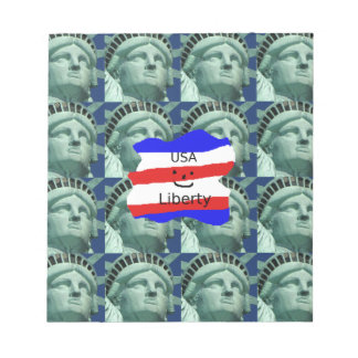 USA Flag Colors With Statue Of Liberty Notepad