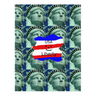 USA Flag Colors With Statue Of Liberty Postcard