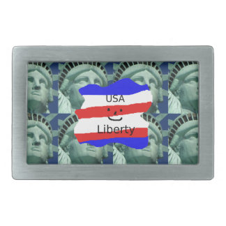 USA Flag Colors With Statue Of Liberty Rectangular Belt Buckles