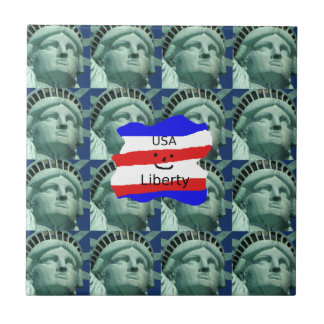 USA Flag Colors With Statue Of Liberty Tile