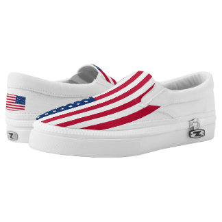 Usa Flag Custom Zipz Slip On Shoes,  Men & Women