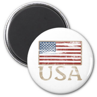 USA Flag Distressed 6 Cm Round Magnet