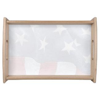 USA flag fade Serving Tray