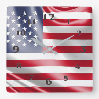 USA Flag for Square-Wall-Clock Square Wall Clock