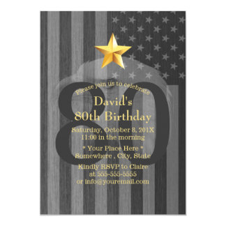 USA Flag Gold Star Bald Eagle 80th Birthday Party Card