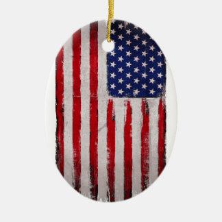 USA flag Grunge Ceramic Ornament