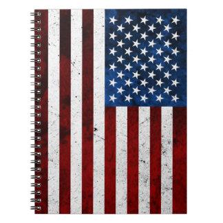 USA FLAG GRUNGE SPIRAL NOTE BOOKS