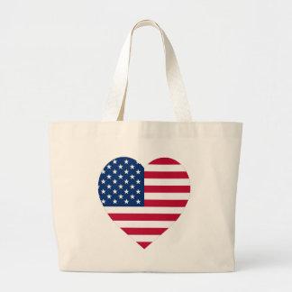 USA Flag Heart Canvas Bag