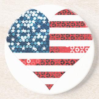 usa flag heart coaster