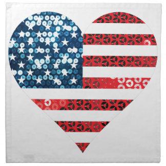 usa flag heart napkin