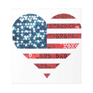 usa flag heart notepad