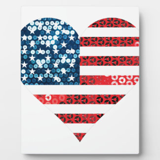 usa flag heart photo plaques