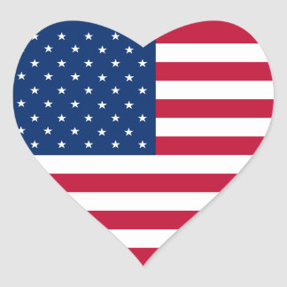 USA Flag Heart Sticker