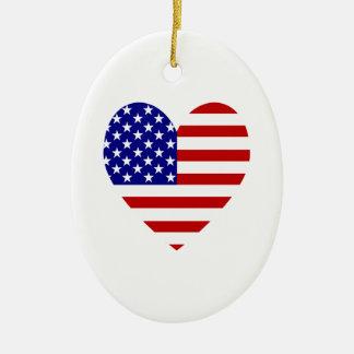 USA Flag Heart Valentine Christmas Tree Ornament