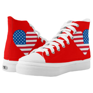 Usa Flag Heart Zipz High Top Shoes,Red Printed Shoes