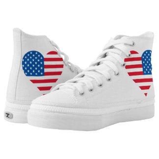 Usa Flag Heart Zipz High Top Shoes,White