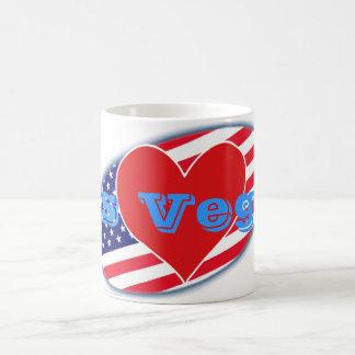 USA flag I Love Las Vegas Basic White Mug