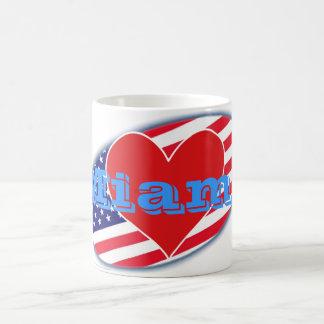 USA flag I Love Miami Coffee Mug