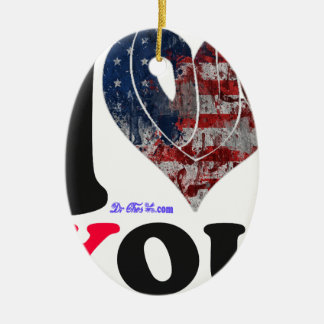 USA FLAG I LOVE YOU CUSTOMIZABLE PRODUCTS CHRISTMAS TREE ORNAMENT