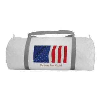 USA flag image for Duffel-Gym-Bag-White Gym Duffel Bag