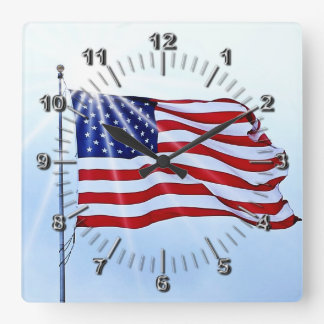 Usa flag in the wind clocks