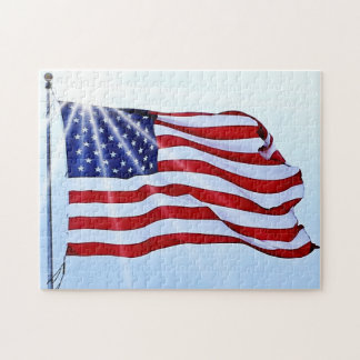 Usa flag in the wind jigsaw puzzle