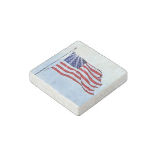 Usa flag in the wind stone magnet