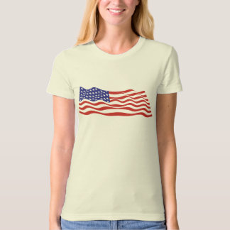 USA Flag Ladies Organic T-Shirt (Fitted)
