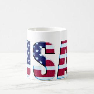 USA Flag Letters Basic White Mug