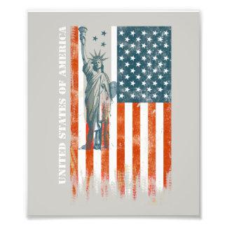 USA Flag Liberty, America, Distressed Art Photo Print
