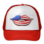USA Flag Lipstick on Smiling Lips Hat